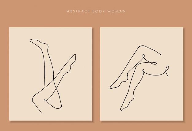Una linea continua di gambe sexi, arte del disegno a linea singola, corpo della donna isolato, design artistico semplice, linea astratta, silhouette