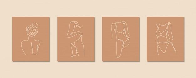 Una linea continua di set corpo sexy, arte disegno a linea singola, corpo donna isolato, design artistico semplice, linea astratta, silhouette per telaio