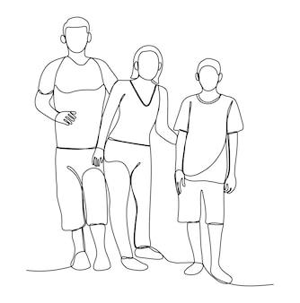 Un disegno a tratteggio della famiglia asiatica in piedi e fare attività insieme. persone giovani gruppo line art.