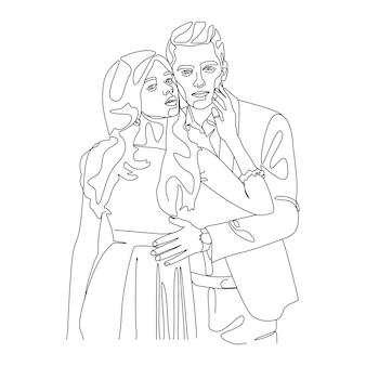 Un disegno a tratteggio coppia che si bacia illustrazione del viso in stile art line