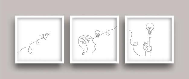 Una linea che disegna un concetto creativo e pensa con una lampadina e un aeroplano di carta