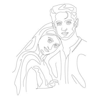 Un disegno a tratteggio minimalista coppia faccia illustrazione in stile arte linea
