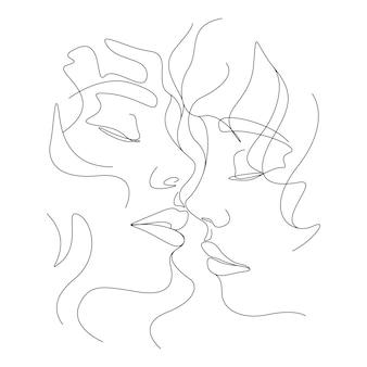 Un disegno a tratteggio coppia minimalista che si bacia illustrazione del viso in stile art line