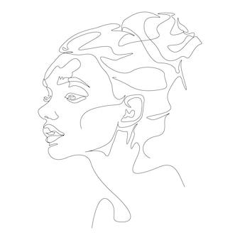 Una linea di disegno minimalista illustrazione della testa della donna