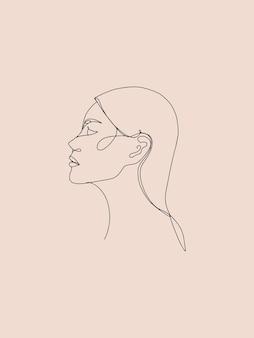 Volto di donna con un disegno a tratteggio stile di linea femminile minimalista alla moda per la bellezza della copertina del poster del logo