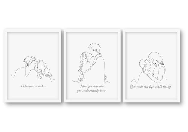 Set di carte di san valentino piatto una riga
