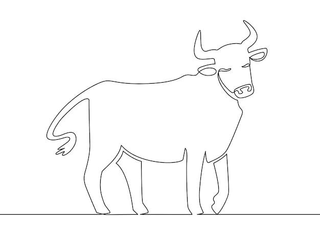 Un bue di linea. arte linea continua del toro del capodanno cinese 2021, simbolo di astrologia asiatica dello zodiaco, concetto di vettore di stile orientale. animale del bue di vettore, illustrazione del disegno lineare del toro