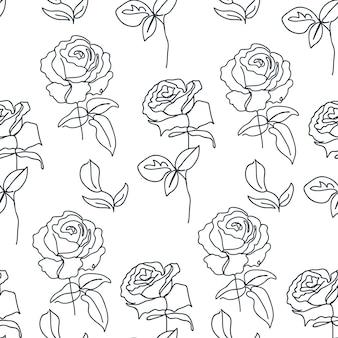 Modello senza cuciture a una linea con rose texture per post sui social media in carta da imballaggio tessile Vettore Premium