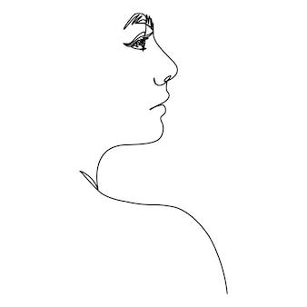 Volto di donna di una linea. una linea continua di ritratti femminili di profilo in stile moderno e minimalista. illustrazione vettoriale per wall art, stampe di t-shirt, loghi, avatar, tatuaggi