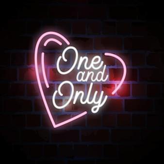 Uno e unico lettering tipografia insegna al neon illustrazione