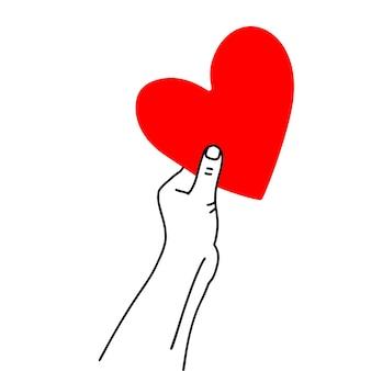 Una mano alzata che tiene un grande cuore rosso disegnato a mano linea arte vacanza biglietto di auguri di san valentino eleme...
