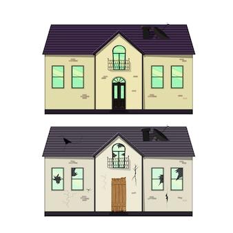 Casa a un piano prima e dopo la riparazione. stile cartone animato. illustrazione.