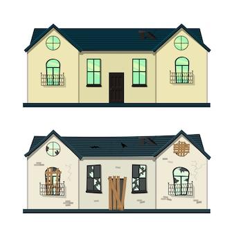 Casa a un piano prima e dopo la riparazione. stile cartone animato.