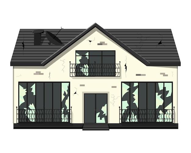 Vecchia casa fatiscente a un piano prima della ristrutturazione. illustrazione di stile del fumetto.