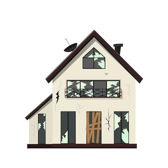 Vecchia casa fatiscente a un piano prima della ristrutturazione. stile cartone animato.