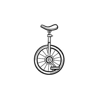 Icona di doodle di un contorno disegnato a mano di bicicletta di una ruota. bicicletta con una ruota utilizzata nell'illustrazione di schizzo di vettore di artisti acrobatici per stampa, web, mobile e infografica isolato su priorità bassa bianca.