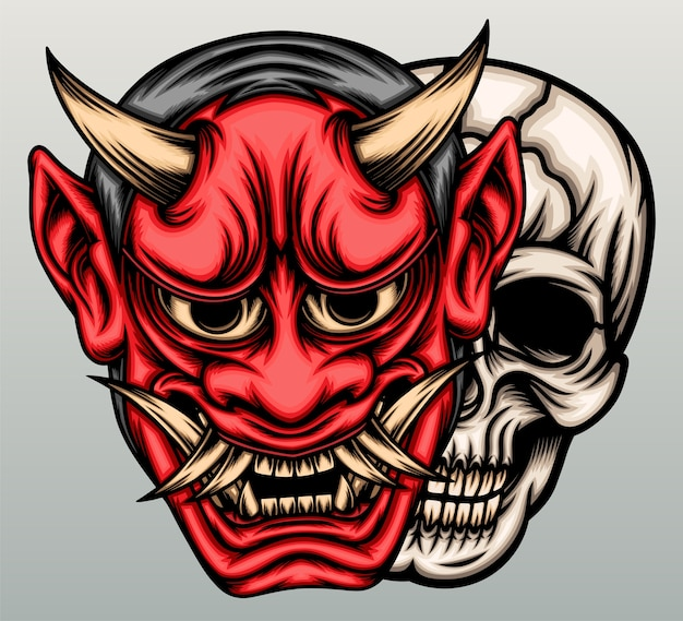 Maschera demone oni con testa di teschio.