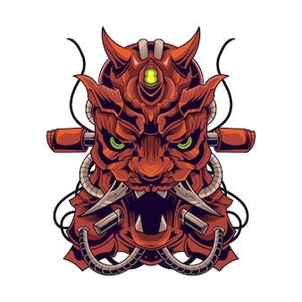 Illustrazione di vettore del robot mecha del diavolo di oni isolata