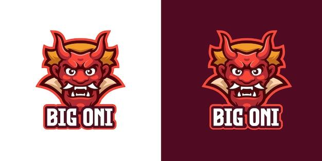 Il modello di logo del personaggio della mascotte del demone giapponese oni