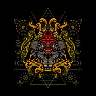 Oni mask fighter cyborg style geometria sacra