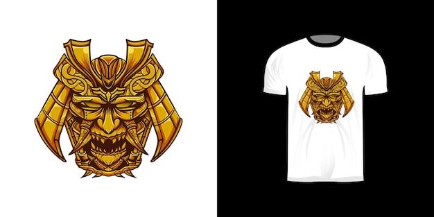 Illustrazione della maschera oni per il design della maglietta