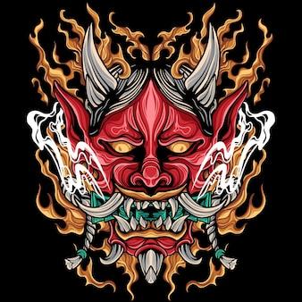 Oni mask japan illustration