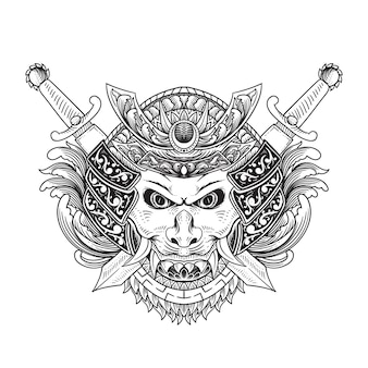 Illustrazione dell'ornamento della spada della maschera di oni