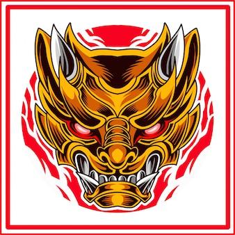 Logo mascotte testa oni samurai