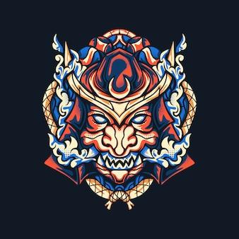 Illustrazione di samurai di oni
