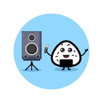 Onigiri karaoke simpatico personaggio mascotte