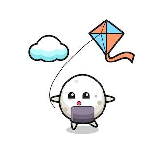 L'illustrazione della mascotte onigiri sta giocando a un aquilone, un design in stile carino per maglietta, adesivo, elemento logo