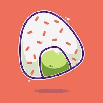 Onigiri sushi cartoon illustrazione