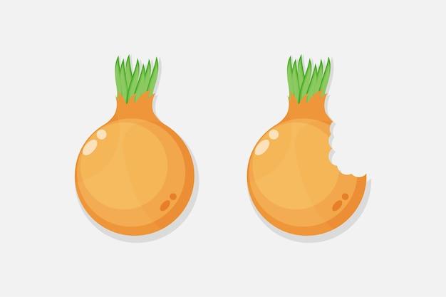 Disegno dell'icona del morso di cipolla e cipolla