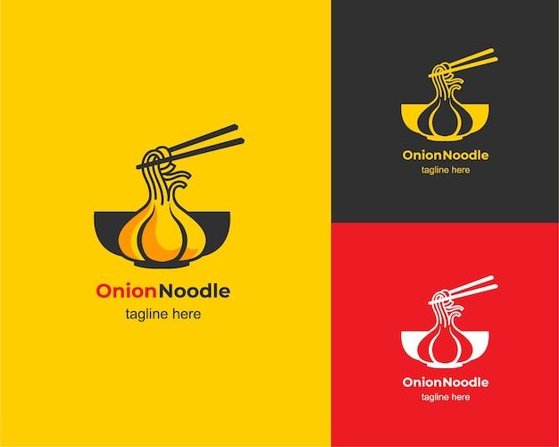 Design del logo della tagliatella ramen alla cipolla