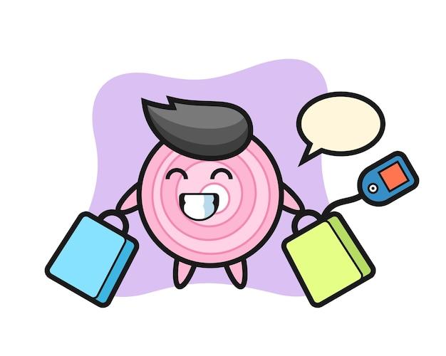 Anelli di cipolla mascotte cartone animato che tiene una borsa della spesa, design in stile carino per t-shirt, adesivo, elemento logo