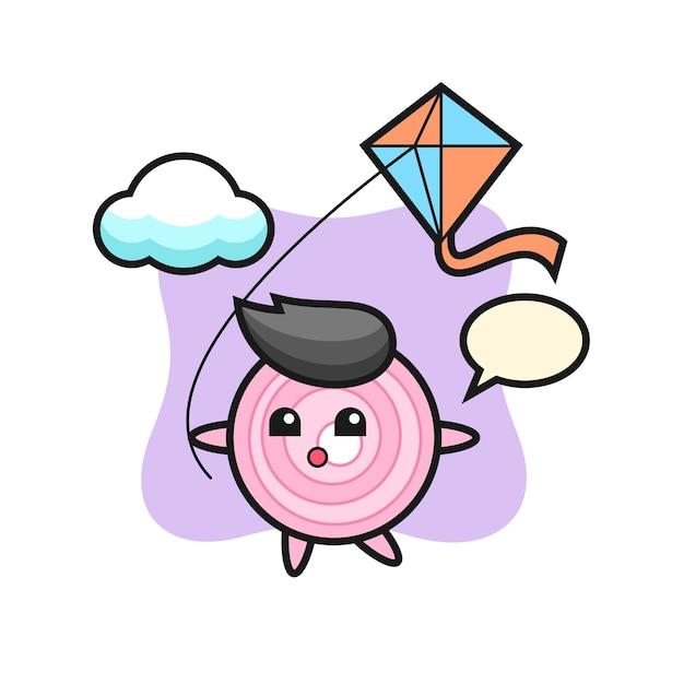 L'illustrazione della mascotte degli anelli di cipolla sta giocando a un aquilone, un design in stile carino per maglietta, adesivo, elemento logo