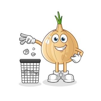 Cipolla getta la spazzatura nella mascotte del bidone della spazzatura