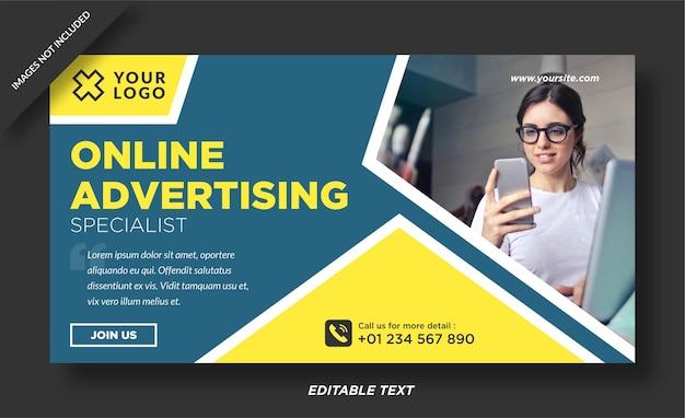 Banner pubblicitario online e modello di social media