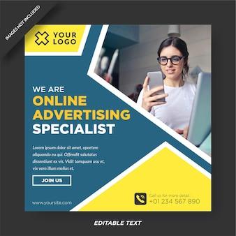 Modello di instagram e social media specializzato in pubblicità online Vettore Premium