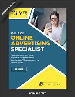Poster di specialisti di pubblicità online e modello di social media