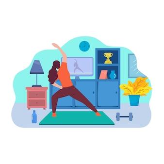 Palestra del corpo di forma fisica di sport piatto aerobico online attiva isolata