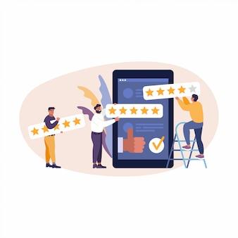 Recensione di app online. le persone danno 5 stelle, feedback e valutazione.