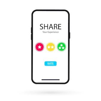 Applicazione online sul cellulare per valutare la tua esperienza. recensione, feedback, valutazione su smartphone. concetti di esperienza utente per banner web, materiali stampati e promozionali. condividi la tua esperienza Vettore Premium