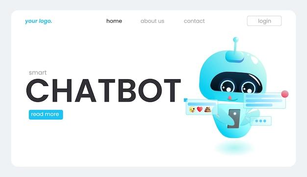 Un bot assistente online su un modello di pagina di destinazione. il design del supporto tecnico per una pagina web. un sito web di aiuto virtuale. pagina di destinazione