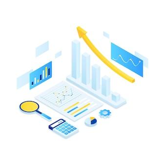 Concetto isometrico dell'illustrazione di audit online.