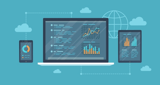 Auditing in linea, concetto di analisi. web e servizio mobile. rapporti finanziari, grafici grafici sugli schermi di un laptop, telefono, tablet. banner di sfondo aziendale.