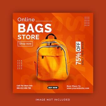 Negozio di borse online modello di banner pubblicitario per post sui social media