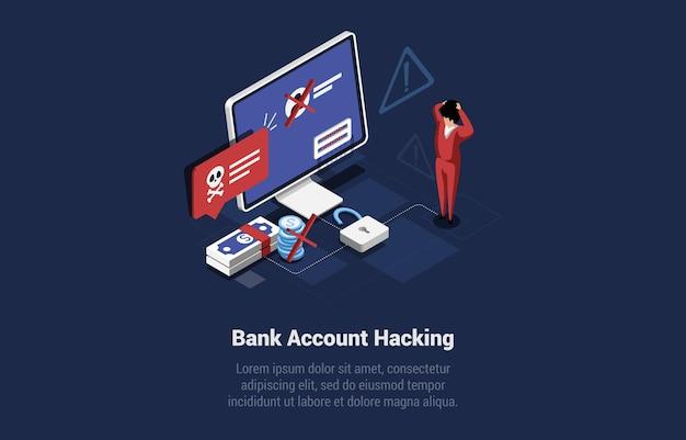 Illustrazione di concetto di hacking del conto bancario online nello stile 3d del fumetto. composizione vettoriale isometrica su sfondo blu scuro. pericolo di virus informatici, attacco software. in piedi umano scioccato vicino al computer.