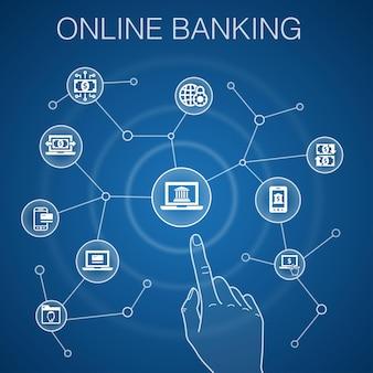 Concetto di servizi bancari online, sfondo blu. trasferimento di fondi, mobile banking, transazione online, icone di successo del denaro digitale