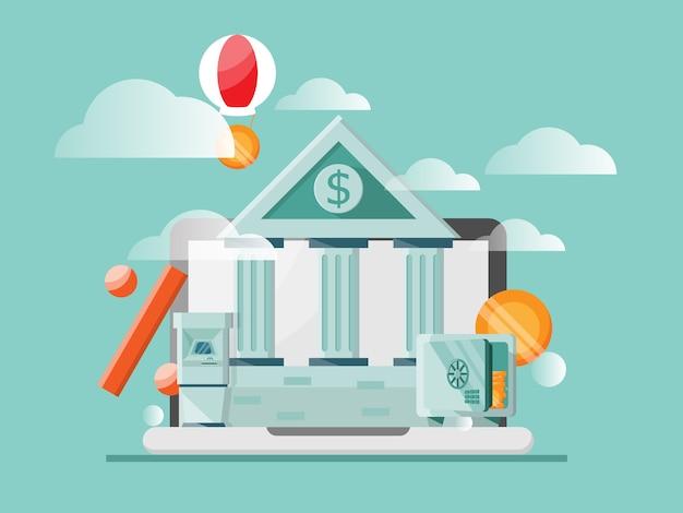 Illustrazione di concetto di banking online piatta